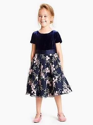 John Lewis & Partners Girls' Velvet Embroidered Dress, Blue