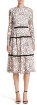 Lela Rose Women's Seamed Lace A-Line Dress