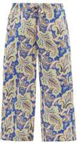 Etro Paisley-print Silk-crepe De Chine Cropped Trousers - Womens - Blue