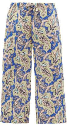 Etro Paisley Print Silk Crepe De Chine Cropped Trousers - Womens - Blue