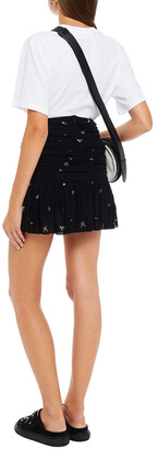 Ganni Ruched Floral-print Georgette Mini Skirt