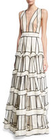 Jenny Packham Piped Silk Satin Organza Cage Gown, White/Black