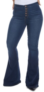 Dollhouse Juniors' High-Rise Button-Fly Flare Jeans