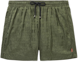 Missoni Mid-Length Logo-Jacquard Swim Shorts - Men - Green
