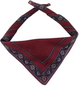 Saint Laurent Burgundy Cotton Scarves & pocket squares