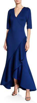 Badgley Mischka V-Neck Elbow-Sleeve High-Low Scuba Gown