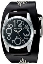 Nemesis Women's 'Showgirl Series' Quartz Stainless Steel and Leather Automatic Watch, Color:Black (Model: BF109K)