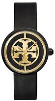 Tory Burch Reva Watch, Black Leather/Black, 36 Mm