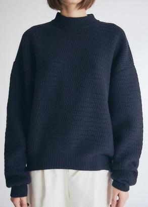 Santosh Women's Vigo Oversized Knit Top in Deep Blue, Size Extra Small