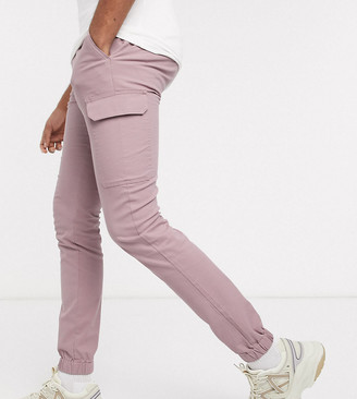 ASOS DESIGN Tall skinny cargo cuffed trousers in pink