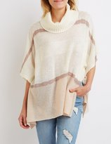 Charlotte Russe Cowl Neck Striped Poncho Sweater