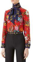 Gucci Crepe de Chine Floral-Print Blouse