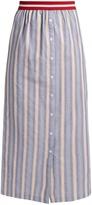 Stella Jean Nobile striped cotton-poplin maxi skirt