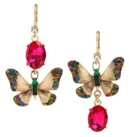 Betsey Johnson Butterfly Mismatch Drop Earrings
