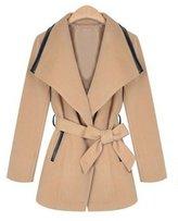 Yinhan YH Women's Winter Midi Pattern Patchwork Leather Woollen Duffle Lapel Coat S
