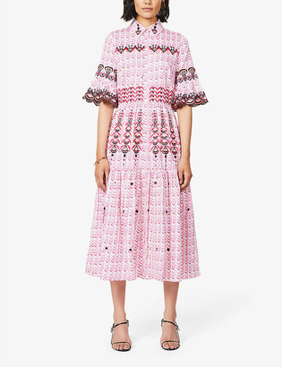 Temperley London Poet embroidered and woven cotton maxi dress