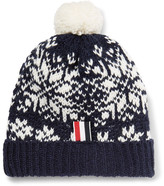 Thom Browne Fair Isle Wool And Mohair-blend Bobble Hat - Midnight blue