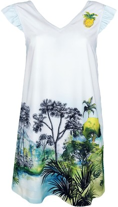 Lalipop Design Mini Dress With Ruffled Shoulders & Pineapple Accessory