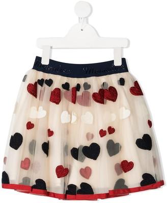 MonnaLisa Embroidered-Heart Tulle Skirt