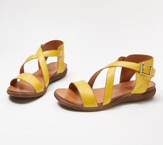 Miz Mooz Leather Cross Strap Sandals - Margarita