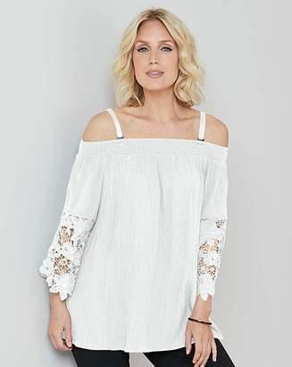 Marisota Julipa White Crinkle Lace Trim Blouse