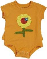 Mimi & Maggie 'Sunflower' Ruffle Butt Romper (Baby) - Orange-3/6 Months