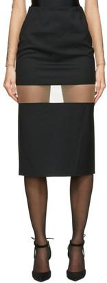Thierry Mugler Black Segmented Mid-Length Skirt
