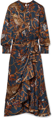 Johanna Ortiz Running With The Jaguars Wrap-effect Printed Crepon Midi Dress - Brown