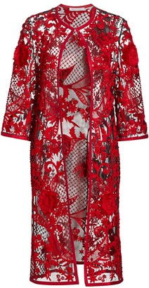 Naeem Khan Artisanl Floral-Embroidered Lace Evening Coat