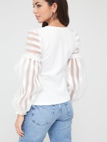River Island Organza Stripe Sleeve Blouse - White