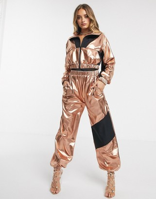 ASOS DESIGN metallic tracksuit jogger co-ord