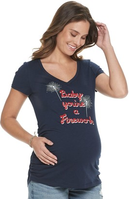 A Glow Maternity a:glow Essential Ruched V-Neck Tee