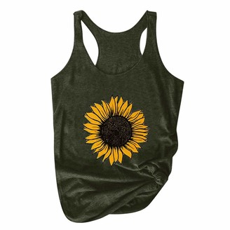 CUTUDE Womens Vest Tops Ladies Girls Sunflower Print Plus Size T Shirts Casual Loose Tank Soft Round Neck Sleeveless Comfortable Blouses (Army Green XXL)