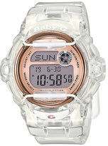 Baby-G Ladies' Rose Tone Dial Clear Resin Strap Watch