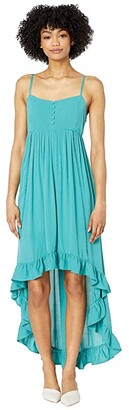 BB Dakota High-Low Button Front Rayon Maxi with Lattice Trim (Bright Slate) Women's Dress