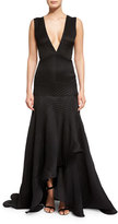 Jason Wu Sleeveless V-Neck Plisse Gown, Black