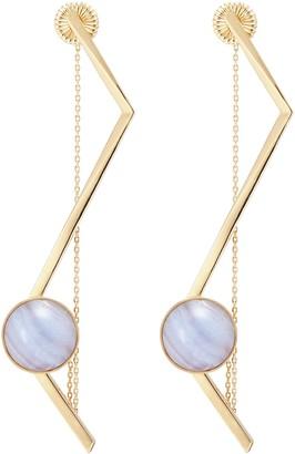 Olivia Yao 'Fliegt' lace agate magent angular bar earrings