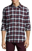 7 For All Mankind Plaid Long-Sleeve Shirt, Crimson