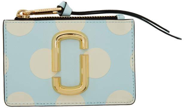 Marc Jacobs Blue Polka Dot Snapshot Top Zip Multi Card Holder
