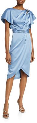 Theia Asymmetrical Drape Charmeuse Dress with Wrap Skirt