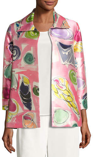 Caroline Rose Beachy Keen Printed Lady Jacket, Plus Size