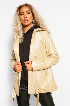 boohoo Oversized Longline Faux Leather Jacket