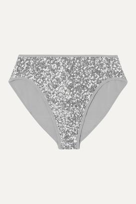 Norma Kamali Sequined Bikini Briefs - Silver