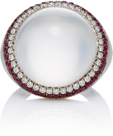 Susan Foster 18K White Gold Ruby and Diamond Moonstone Ring
