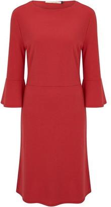 Nougat Fig Fluted Sleeve Dress