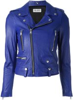 Saint Laurent classic motorcycle jacket - women - Cotton/Lamb Skin/Cupro - 36