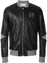 Philipp Plein Mei leather bomber jacket - men - Cotton/Calf Leather/Polyamide - M