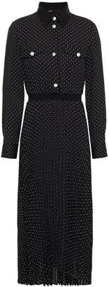 Maje Rosano Pleated Polka-dot Crepe Midi Shirt Dress