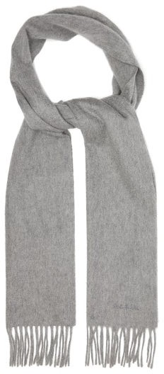 Paul Smith Logo-embroidered Tasselled Cashmere Scarf - Mens - Grey