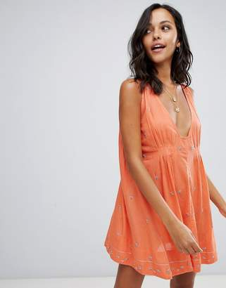 Free People Crushin On You embellished dress-Orange